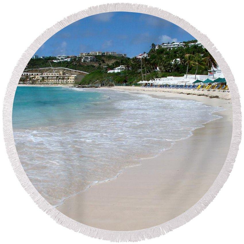 Dawn Beach Round Beach Towel featuring the photograph Solitude On Dawn Beach by Margaret Bobb