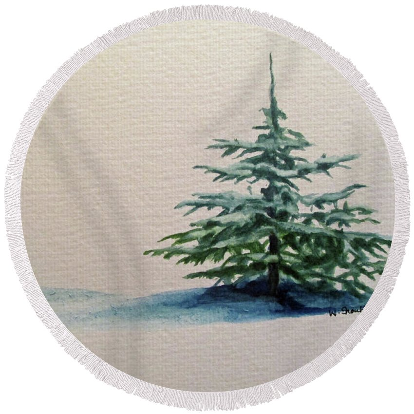 Blue Spruce Round Beach Towel featuring the painting Solitude by Wendy Shoults