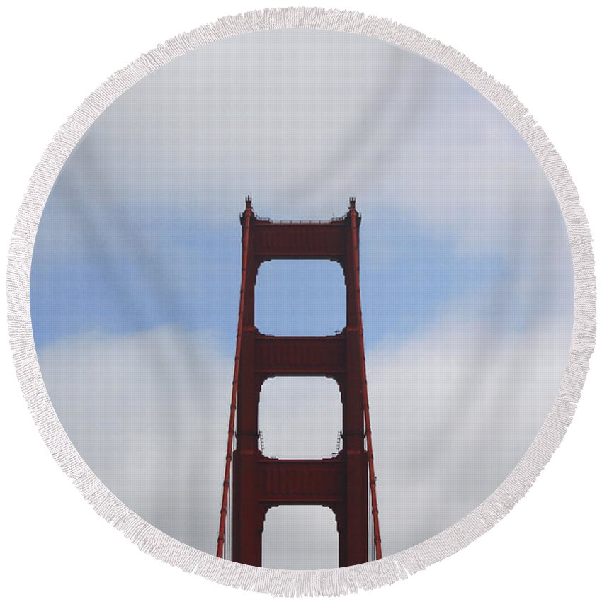 Bridges Round Beach Towel featuring the photograph Solo Francisco by Nick Mattea