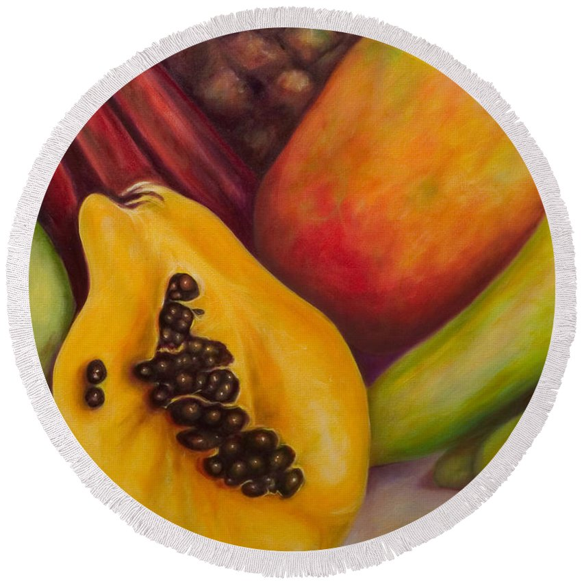 Tropical Fruit Still Life: Mangoes Round Beach Towel featuring the painting Solo by Shannon Grissom