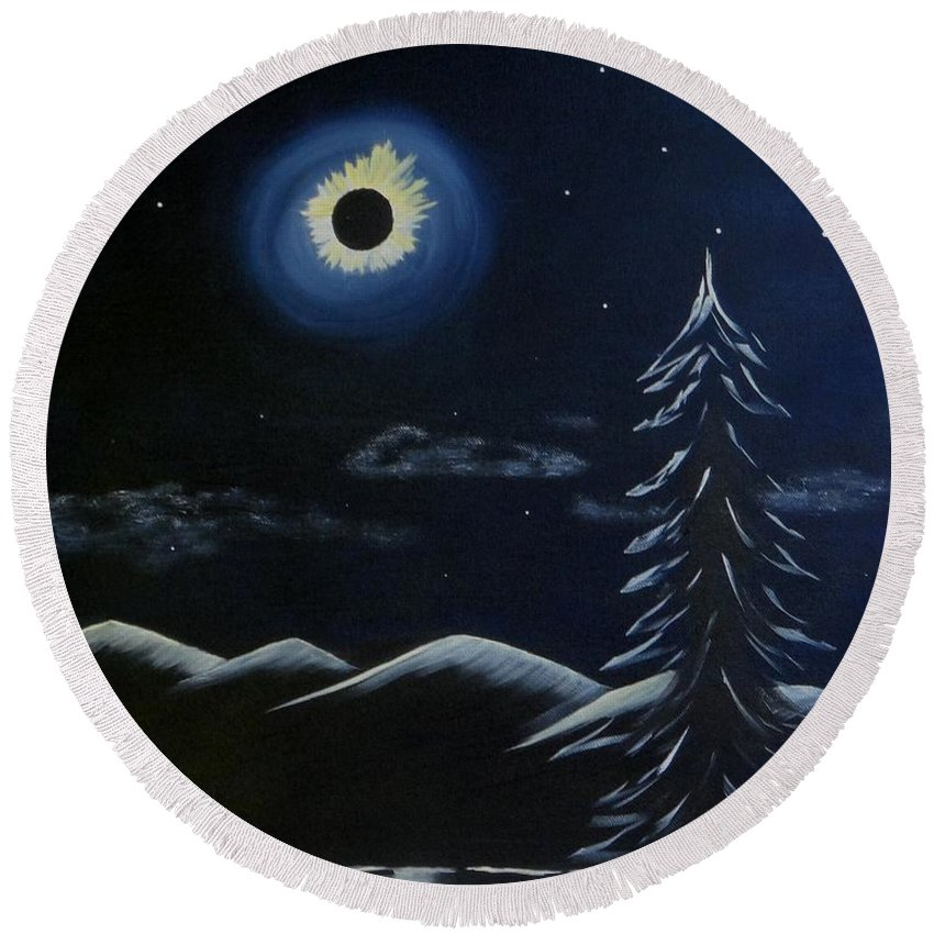 Solar Round Beach Towel featuring the painting Solor Eclipse by Phyllis Gates