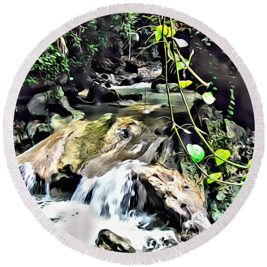 Waterfall Round Beach Towel featuring the digital art Somerset Stream by Anthony C Chen