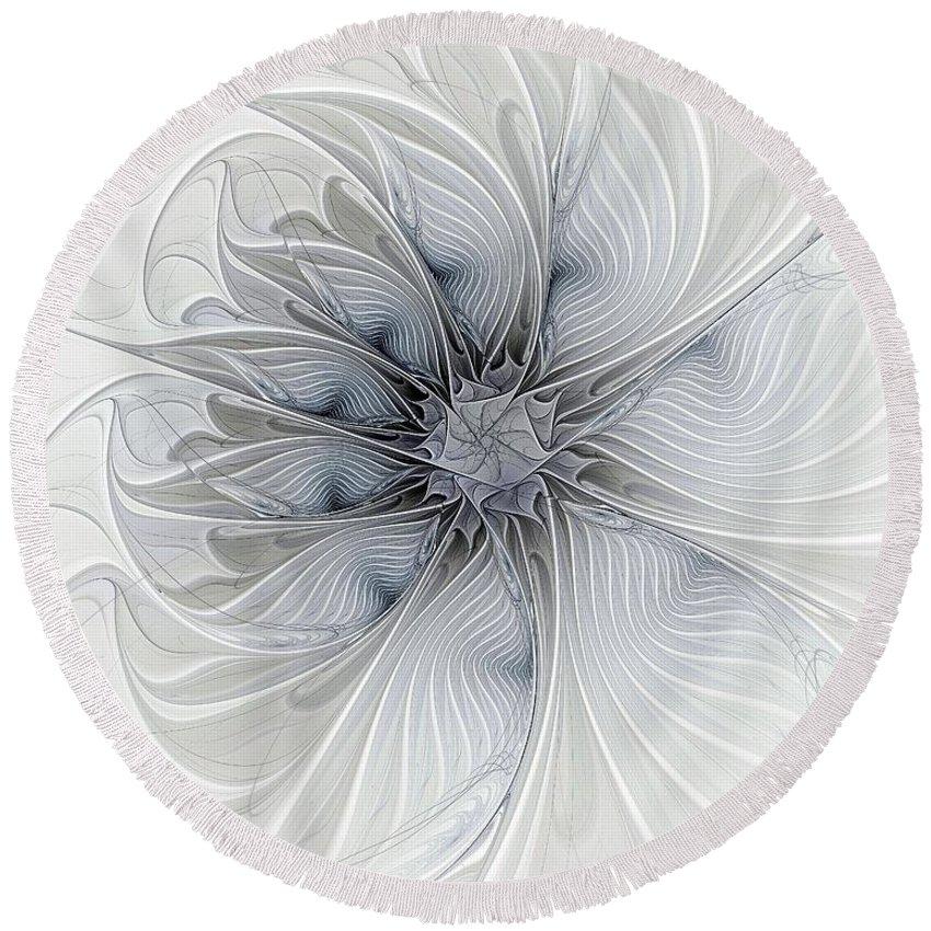 Digital Art Round Beach Towel featuring the digital art Something Blue by Amanda Moore