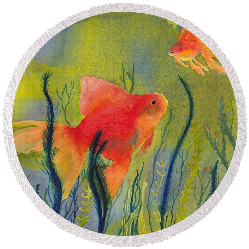 Fish Round Beach Towel featuring the painting Something Fishy Going On by Conni Schaftenaar