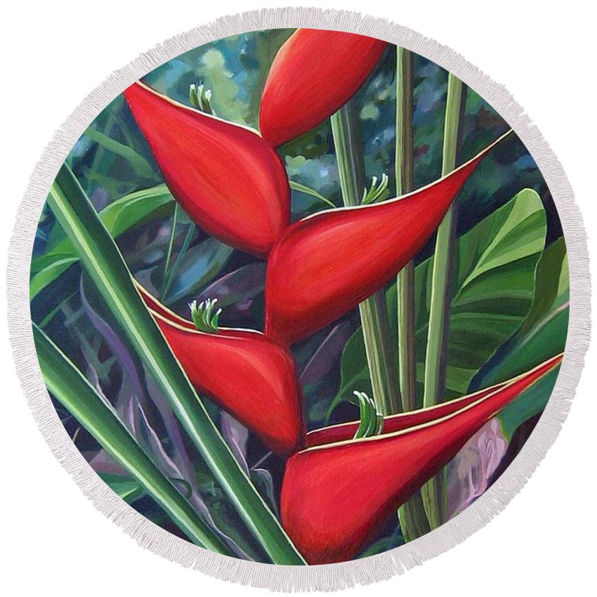 Heliconia Round Beach Towel featuring the painting Something In Red by Hunter Jay