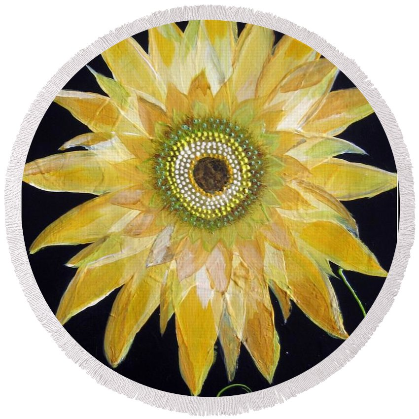 Floral Round Beach Towel featuring the painting Something Special by Kathy Othon