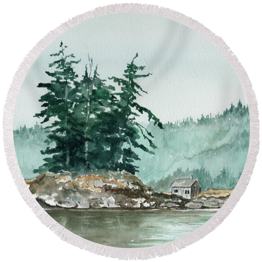 Landscape Watercolor Scenery Scenic Nature Wilderness Cabin Shack Trees Water Rural Round Beach Towel featuring the painting Sometimes A Great Notion by Brenda Owen
