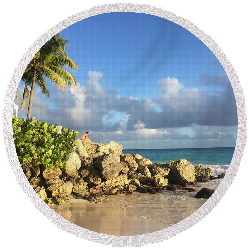 Caribbean Round Beach Towel featuring the photograph Somewhere in Barbados by Cindy Ross