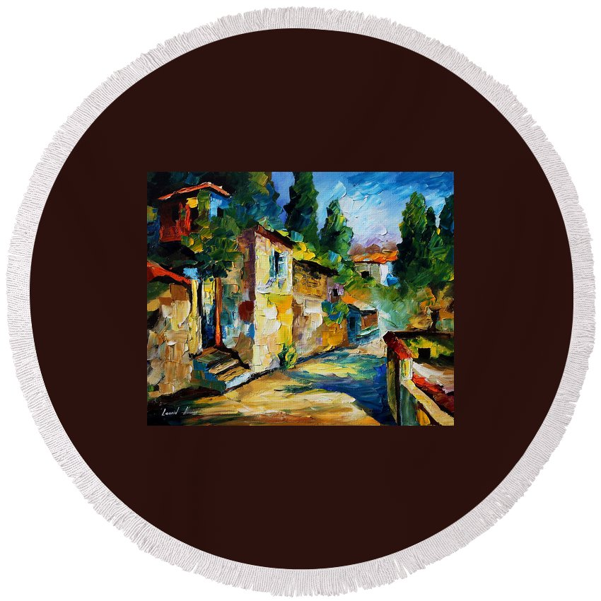 City Round Beach Towel featuring the painting somewhere in Israel by Leonid Afremov