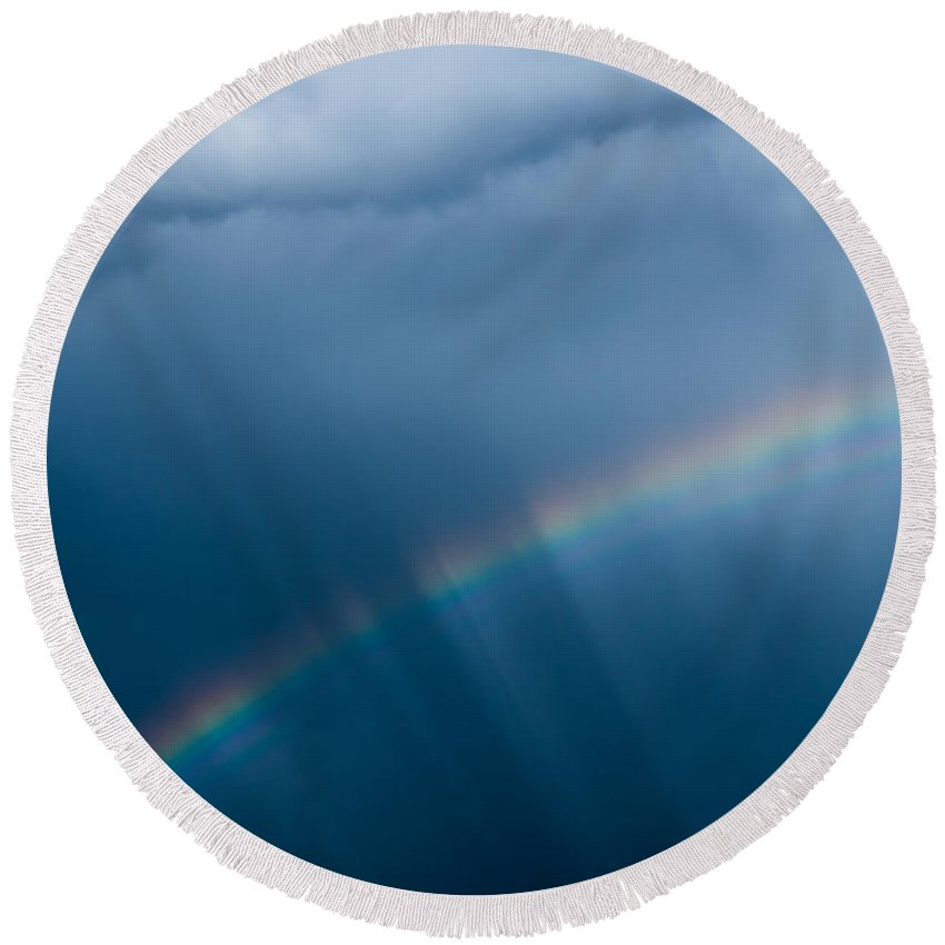 Somewhere Over The Rainbow Round Beach Towel featuring the photograph Somewhere Over The Rainbow by Mick Anderson
