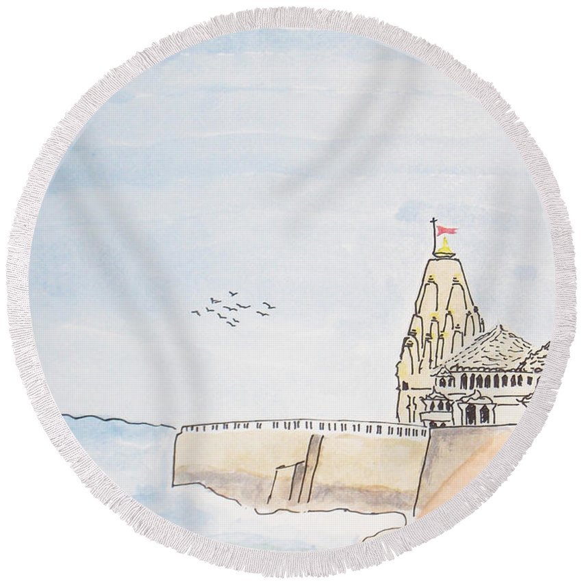 Somnath Round Beach Towel featuring the painting Somnath Jyotirling by Keshava Shukla