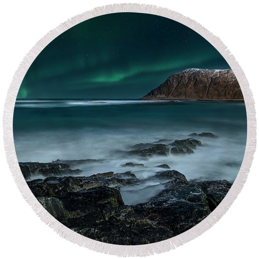 Lofoten Round Beach Towel featuring the digital art Song For Night by Feliksas Ostapenko
