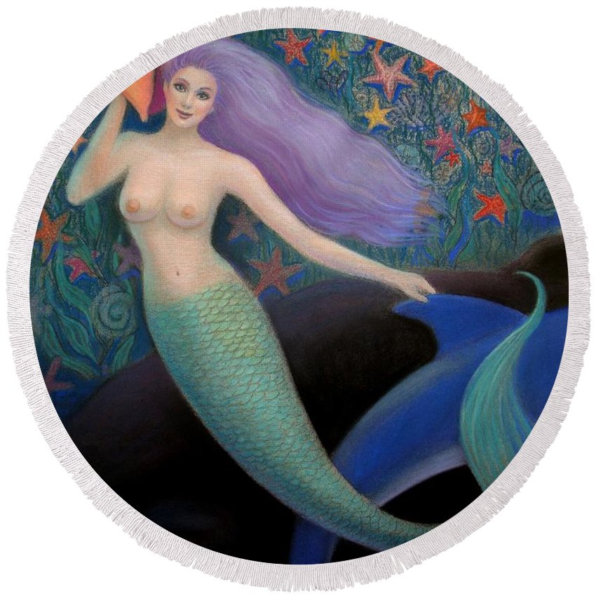 Mermaid Round Beach Towel featuring the painting Song Of The Sea Mermaid by Sue Halstenberg
