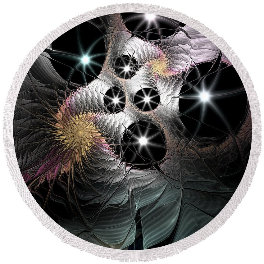 Fractal Round Beach Towel featuring the digital art Song Of The Stars by Casey Kotas