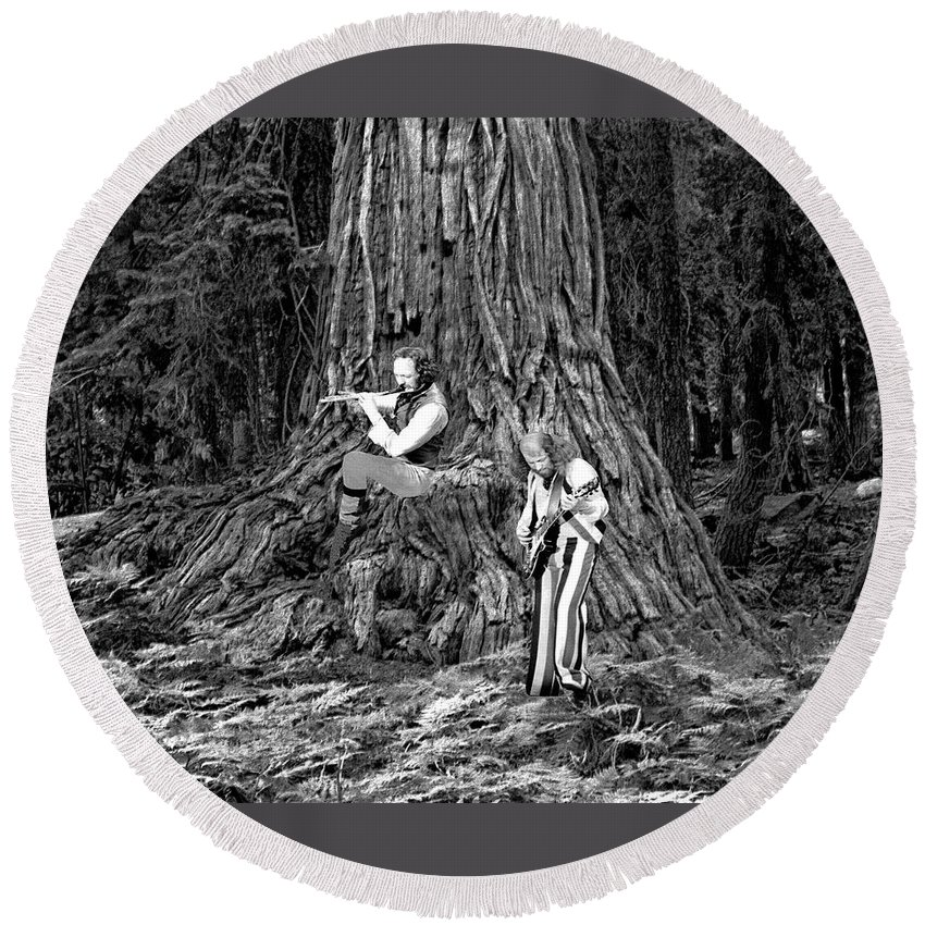 Jethro Tull Round Beach Towel featuring the photograph Songs In The Woods by Ben Upham