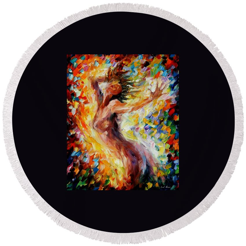 Afremov Round Beach Towel featuring the painting Songs Of Love by Leonid Afremov
