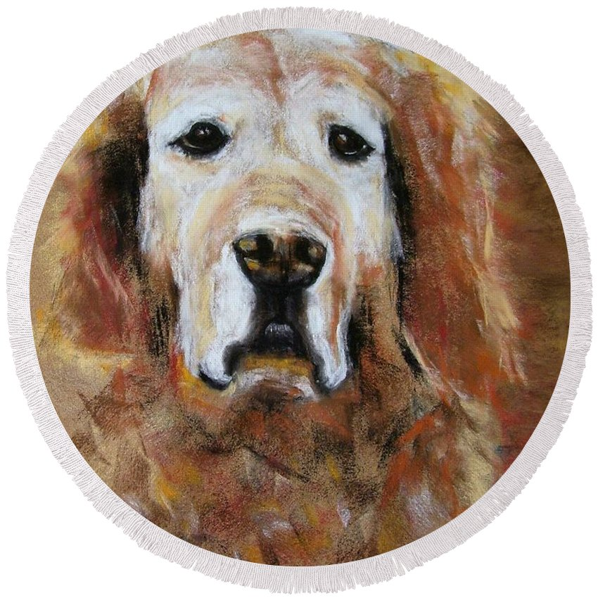 Golden Round Beach Towel featuring the painting Sonny by Frances Marino
