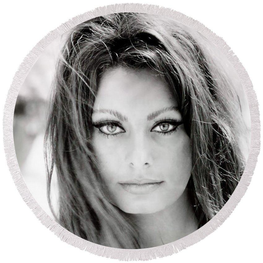 Sophia Loren Round Beach Towel featuring the photograph Sophia Loren by Georgia Fowler