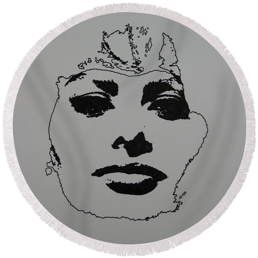 Sophia Round Beach Towel featuring the drawing Sophia by Lynet McDonald