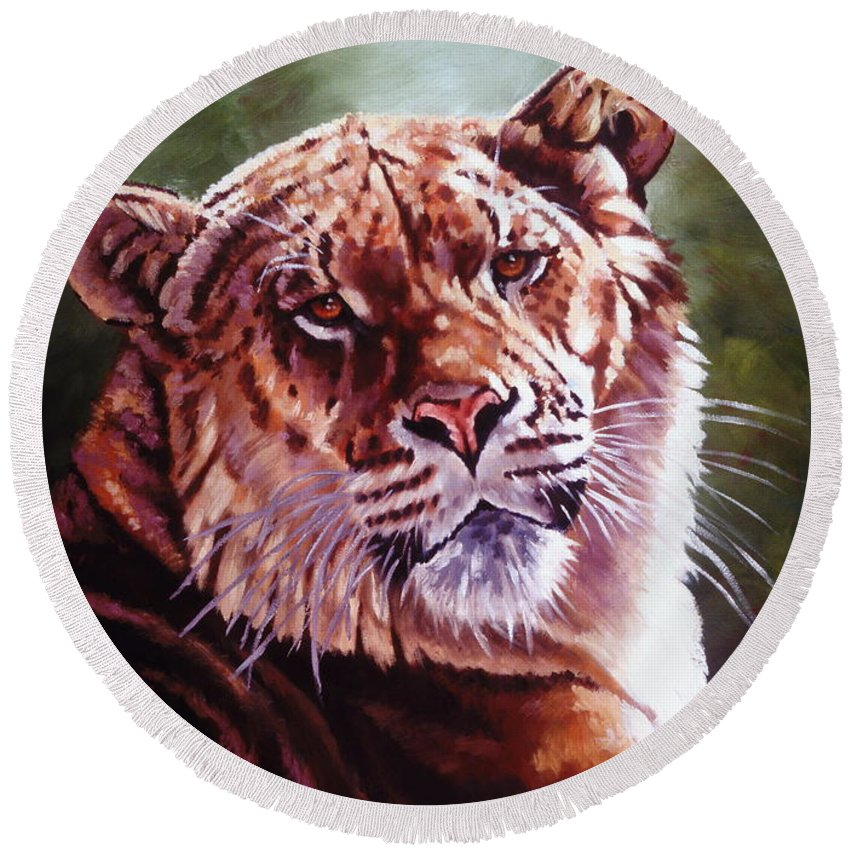 Hybrid Round Beach Towel featuring the painting Sophie The Liger by Barbara Keith