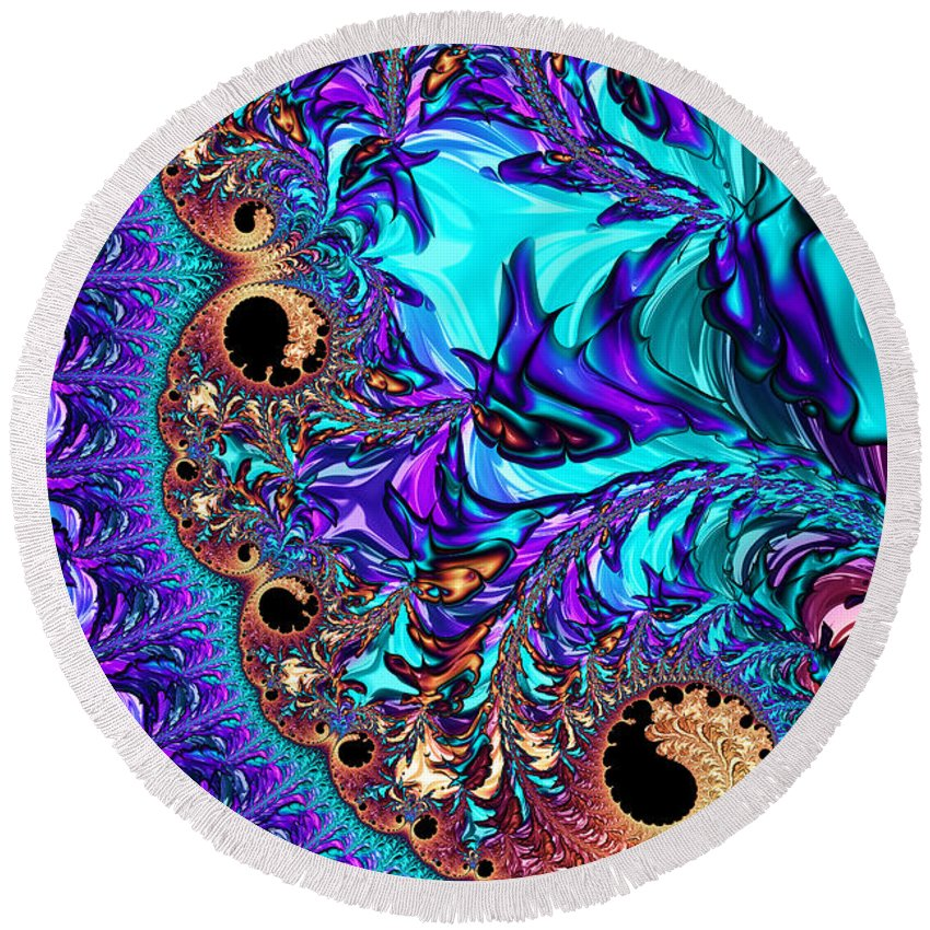 Fractal Round Beach Towel featuring the digital art Sophistication by Steve Purnell