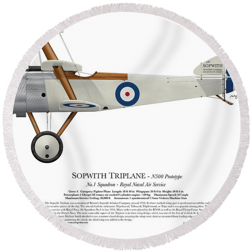 Sopwith Round Beach Towel featuring the digital art Sopwith Triplane Prototype - Side Profile View by Ed Jackson