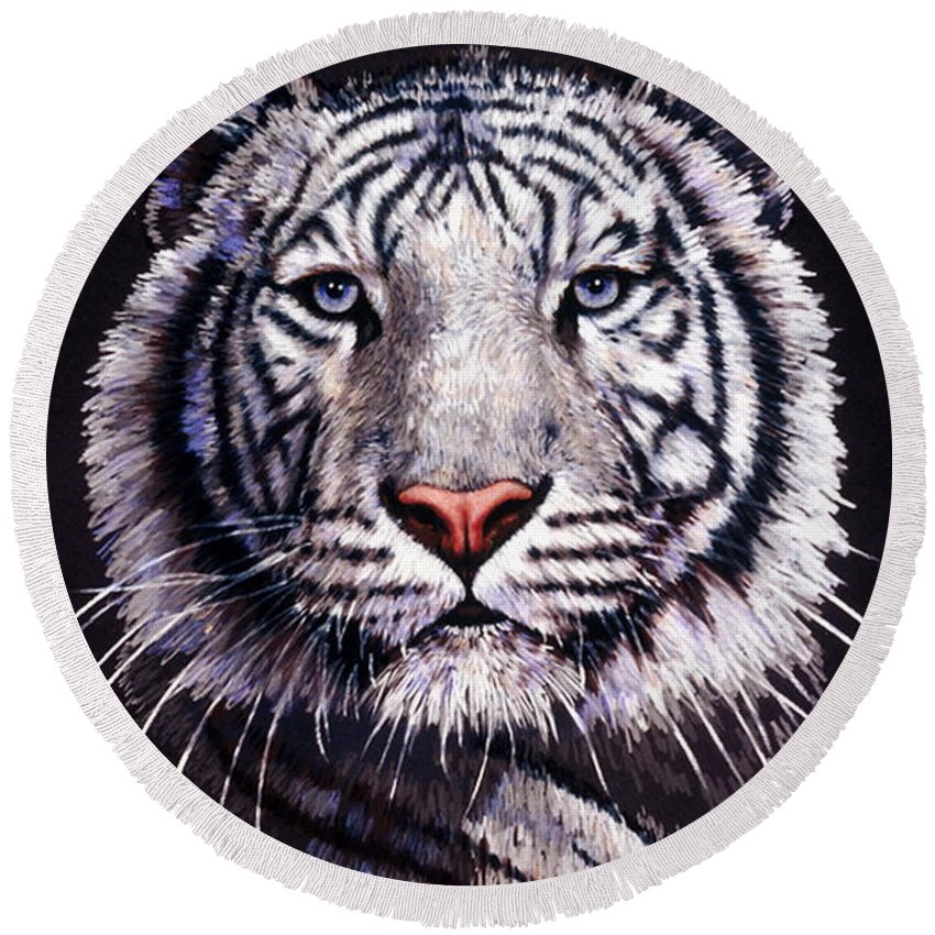 Tiger Round Beach Towel featuring the drawing Sorcerer by Barbara Keith