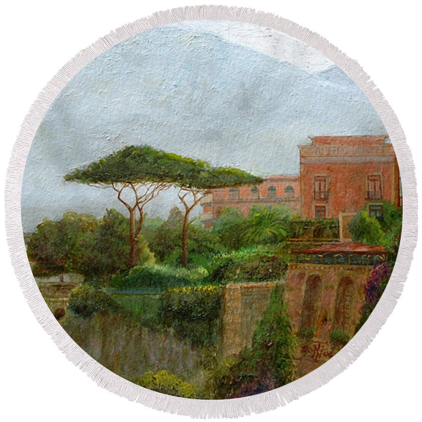 Amalfi Coast; Coastal; Landscape; Italian; Italy; Mountain; Mountains; Tree; Trees; Sorrento; Albergo Round Beach Towel featuring the painting Sorrento Albergo by Trevor Neal