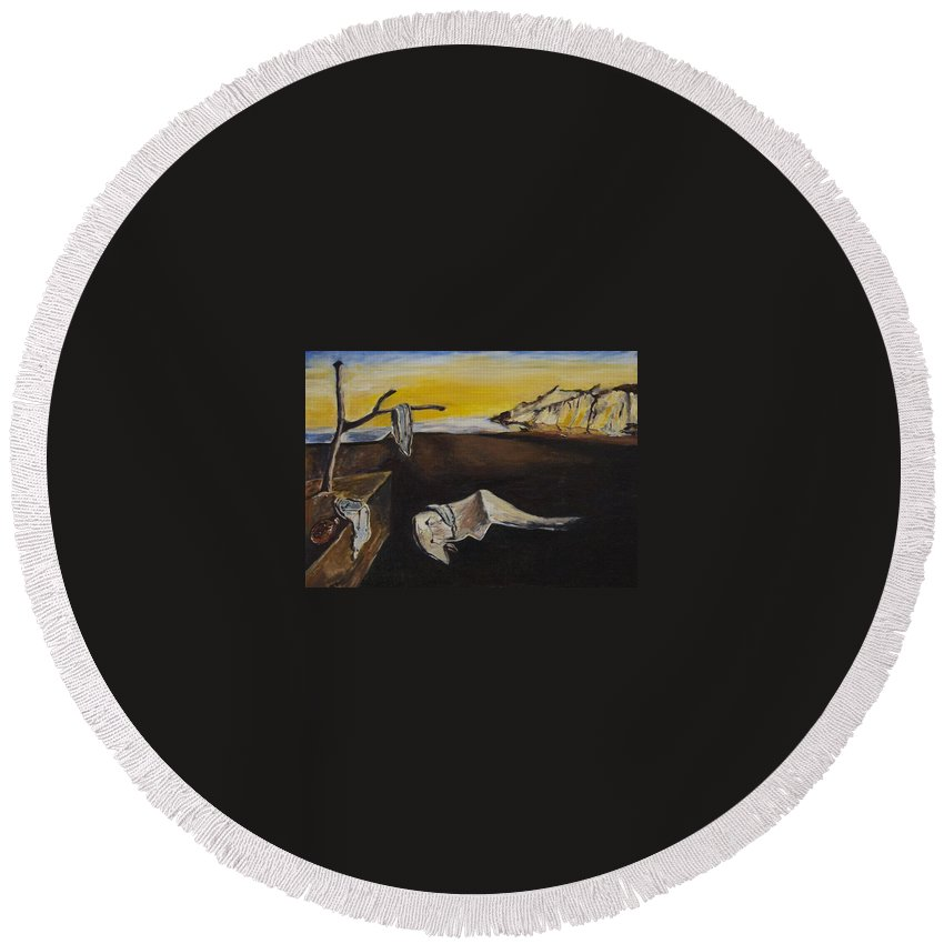 Landscape Round Beach Towel featuring the painting sorry Dali-itsGIFT by Pablo de Choros