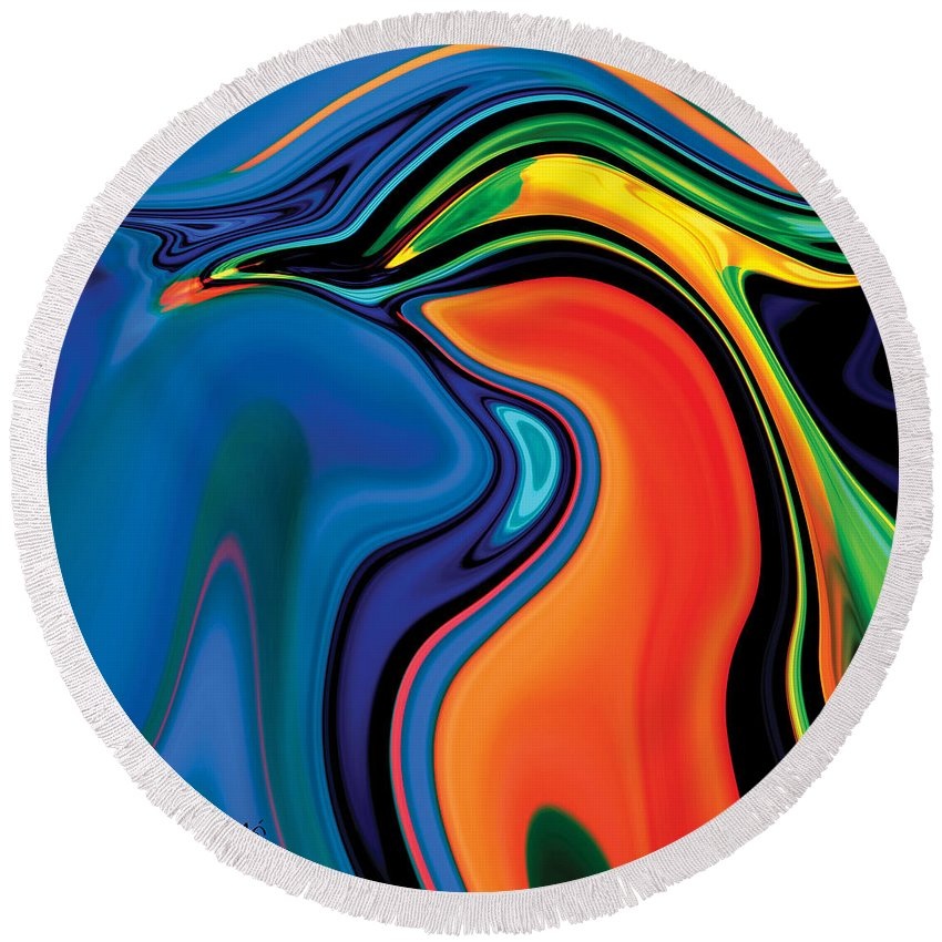 Abstract Round Beach Towel featuring the digital art Soul Bird 2 by Rabi Khan