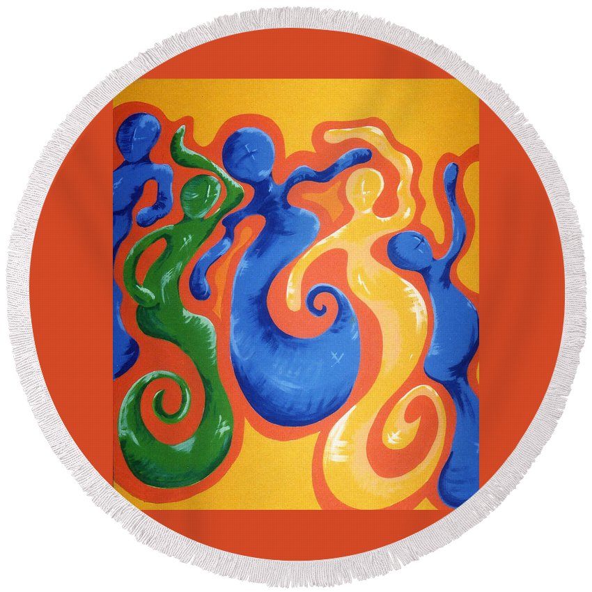 Round Beach Towel featuring the painting Soul Figures 3 by Catt Kyriacou