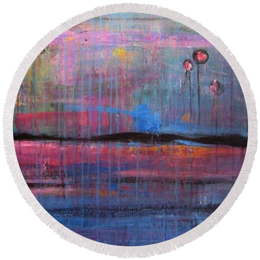 Abstract Round Beach Towel featuring the painting Soul by Laurie Maves ART