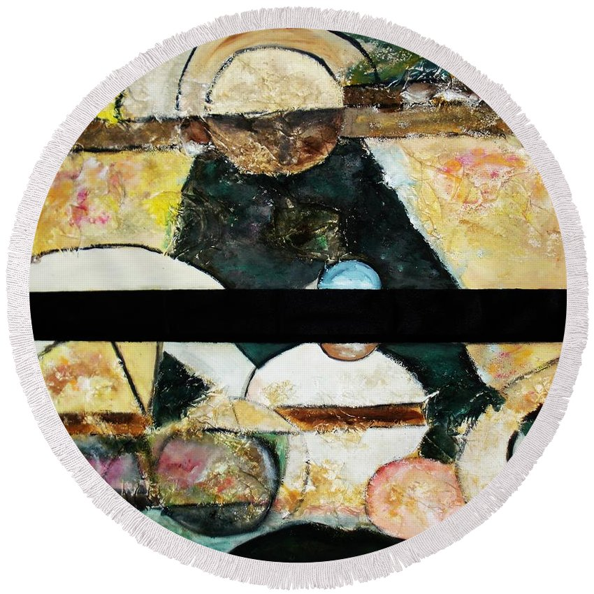 Acrylic Painting Round Beach Towel featuring the painting Soul Mate by Yael VanGruber