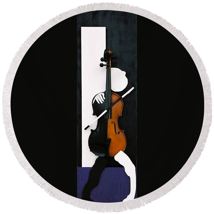 Violin Round Beach Towel featuring the sculpture Soul Of Music by Steve Karol