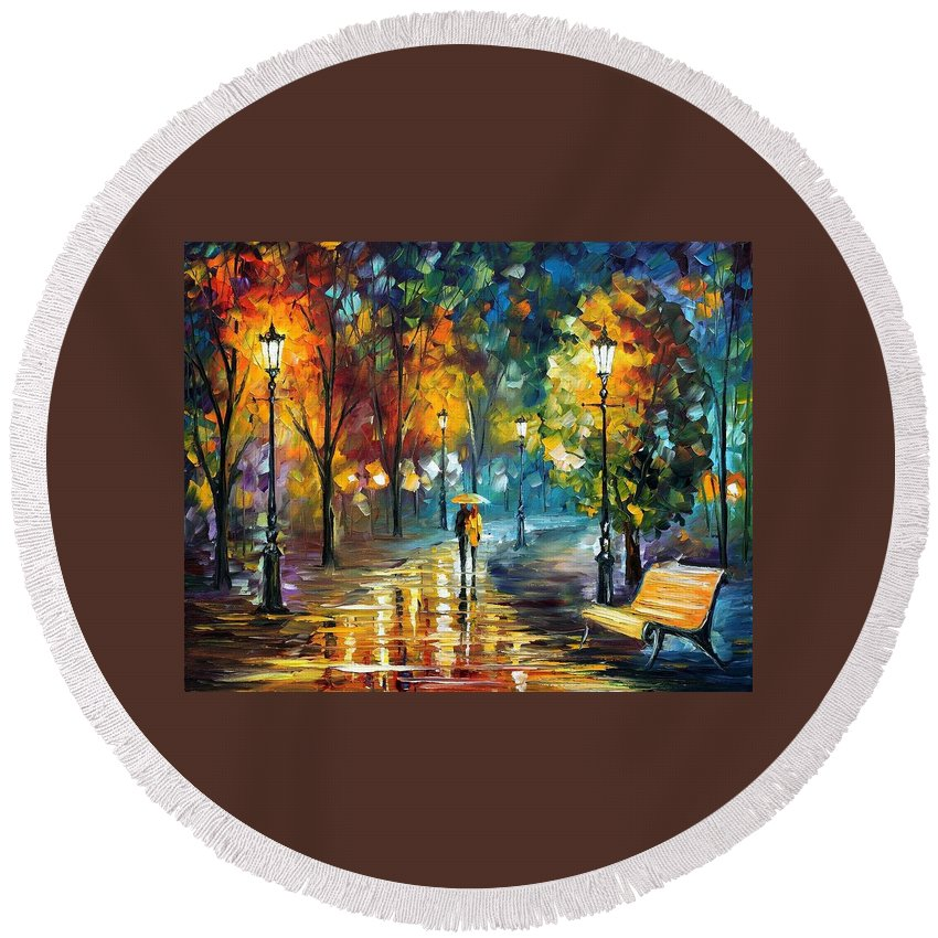 Afremov Round Beach Towel featuring the painting Soul Of The Rain by Leonid Afremov