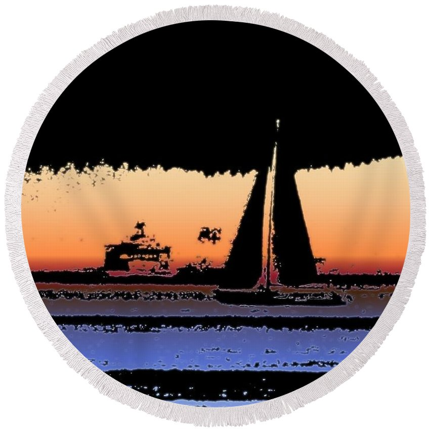 Seattle Round Beach Towel featuring the photograph Sound Sailin 2 by Tim Allen