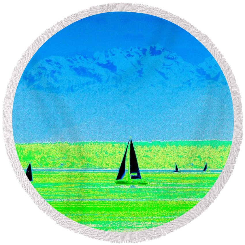 Sail Round Beach Towel featuring the photograph Sound Sailin by Tim Allen