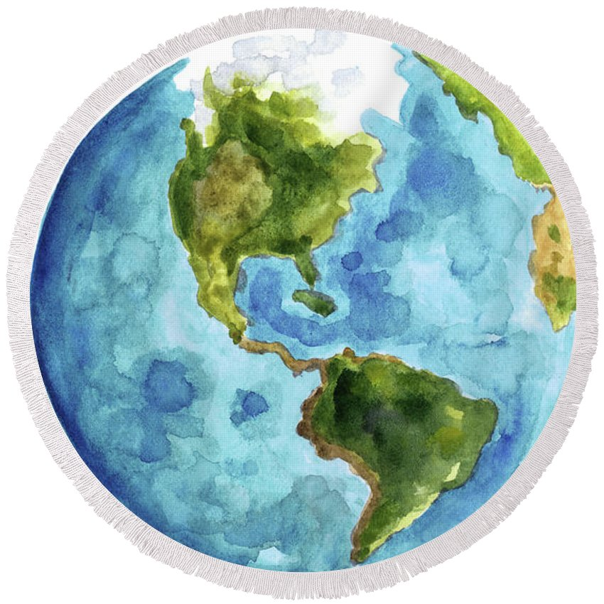 Round Globe Map.Planet Earth South America Illustration Watercolor World Map
