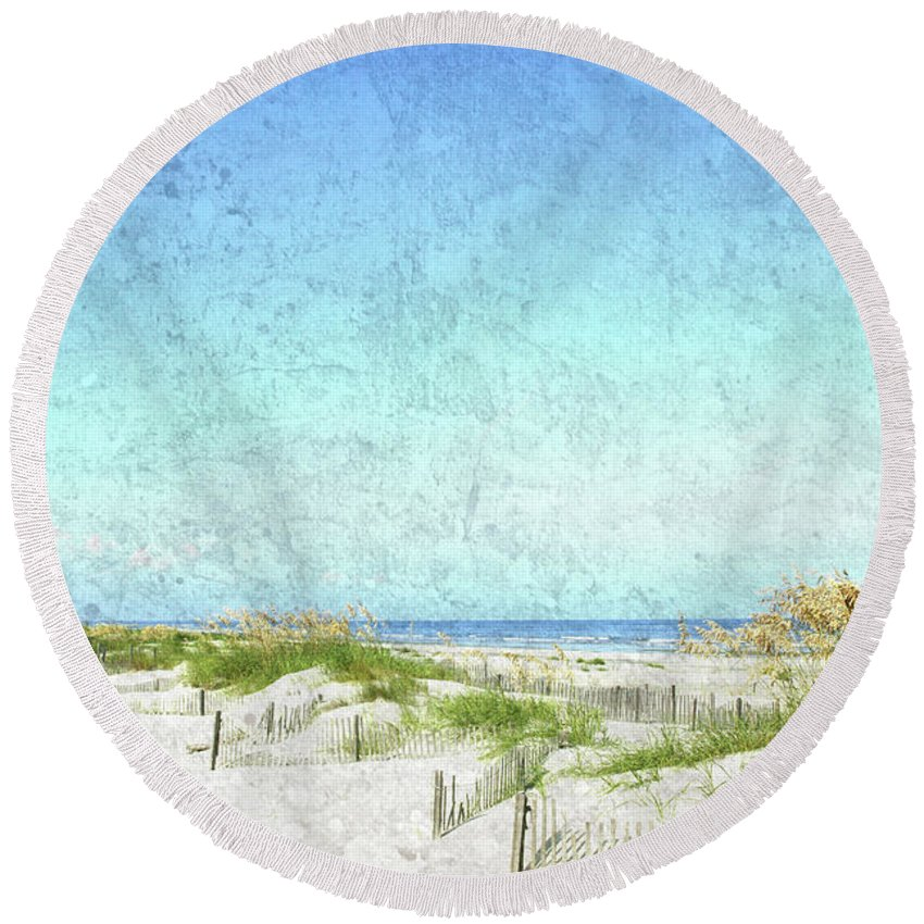 Round Beach Towel featuring the photograph South Carolina Beach by Guy Crittenden