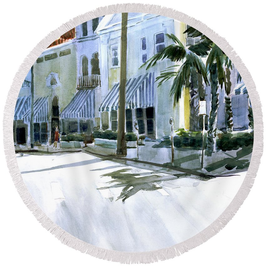 Landscape Round Beach Towel featuring the painting South County Road by Thomas Tribby