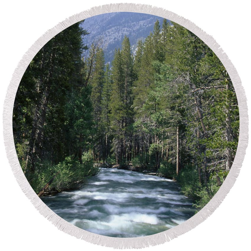 White Water Round Beach Towel featuring the photograph South Fork San Joaquin River - Kings Canyon National Park by Soli Deo Gloria Wilderness And Wildlife Photography