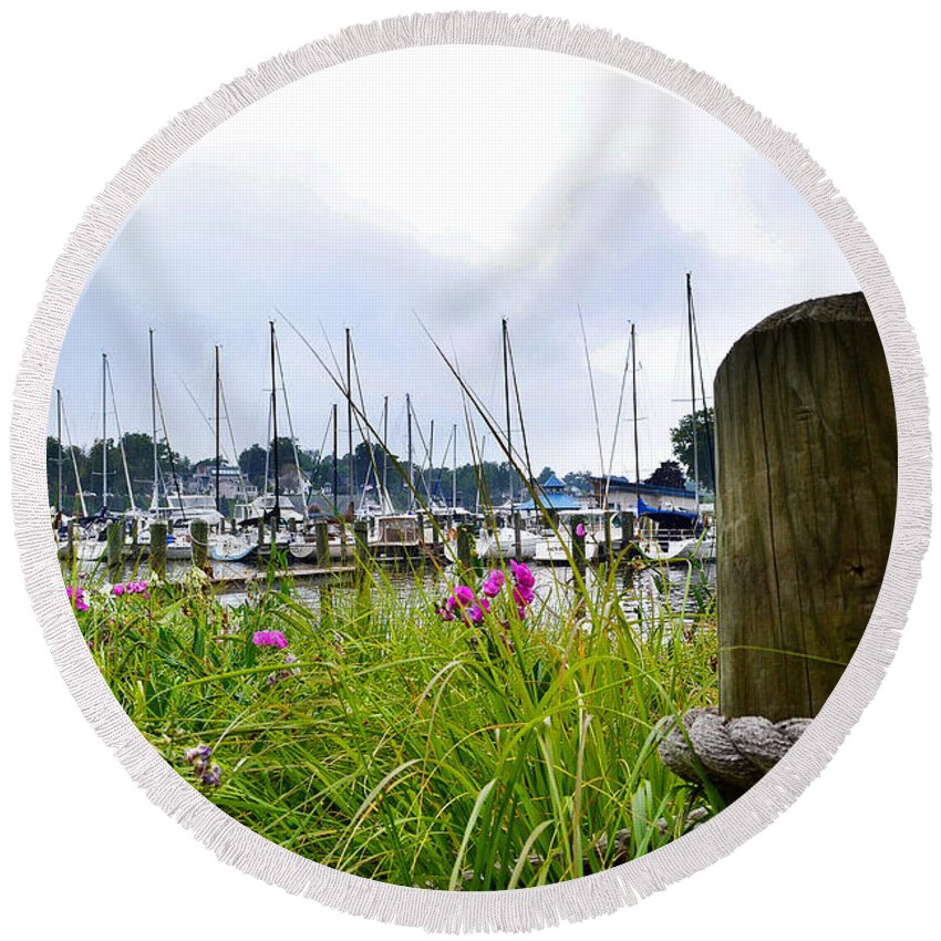 Sailboats Round Beach Towel featuring the photograph South Haven Marina by Amy Lucid