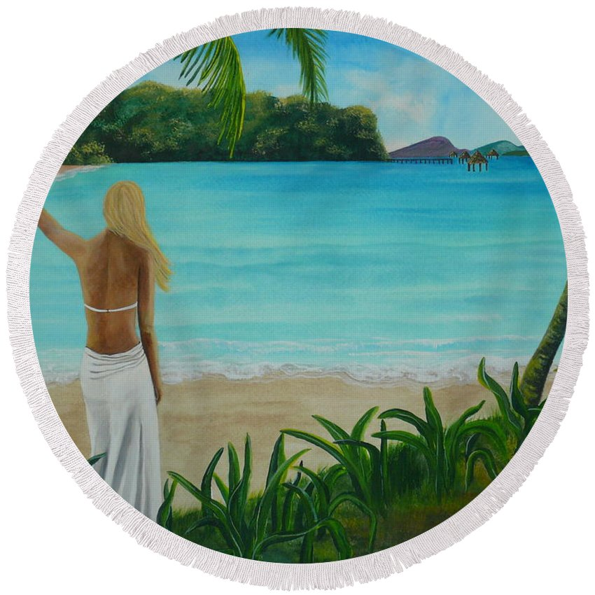 Tropical Round Beach Towel featuring the painting South Pacific Dreamin by Kris Crollard