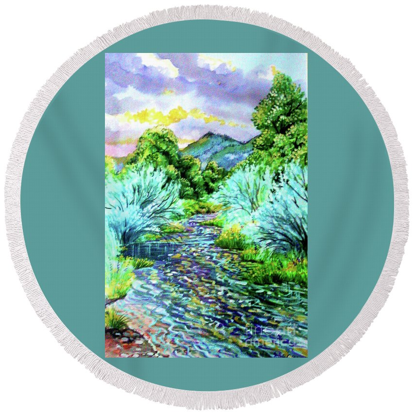 South Platte River At Spring Run Off Life Blood Of Denver Colorado Purples Teal Blues Greens Reflections Yellow Round Beach Towel featuring the painting South Platte River by Annie Gibbons
