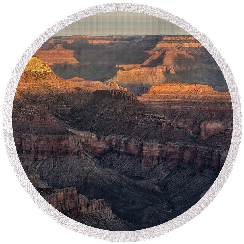 South Rim Sunrise Grand Canyon National Park Arizona Az Round Beach Towel featuring the photograph South Rim Sunrise - Grand Canyon National Park - Arizona by Brian Harig