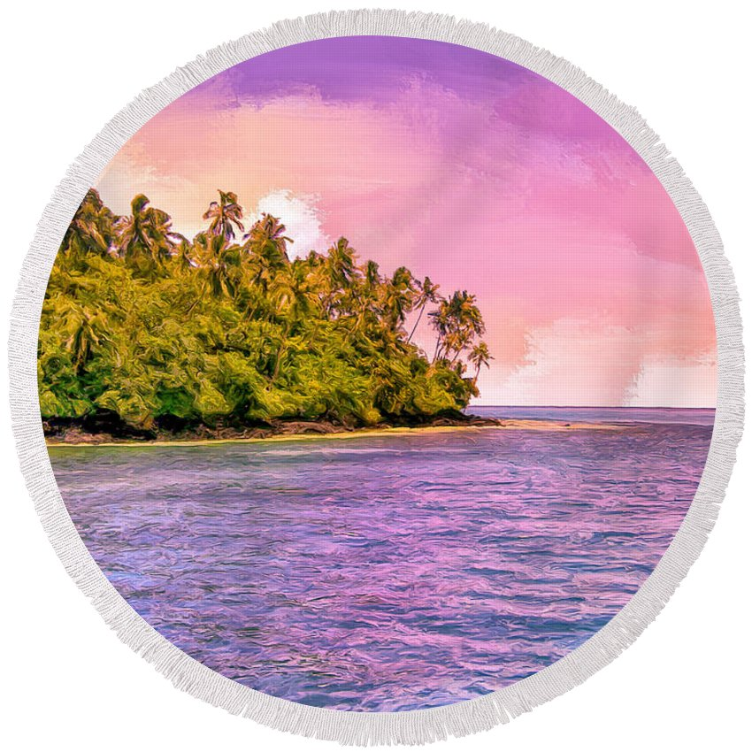 South Seas Round Beach Towel featuring the painting South Seas Sunset by Dominic Piperata