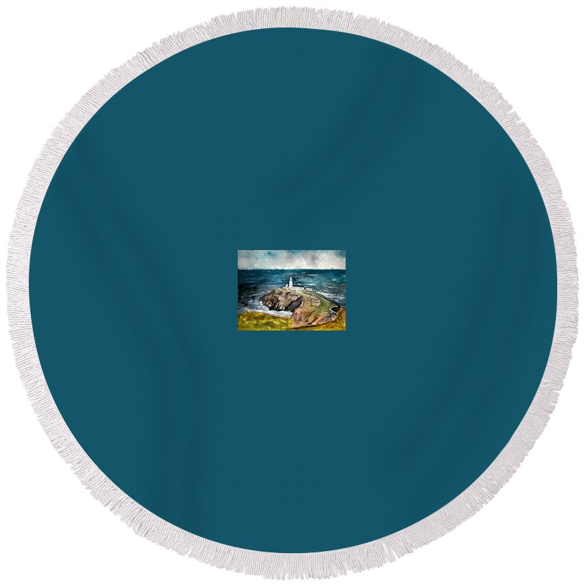 South Stack Lighthouse Round Beach Towel featuring the painting South Stack Lighthouse by Derek Mccrea