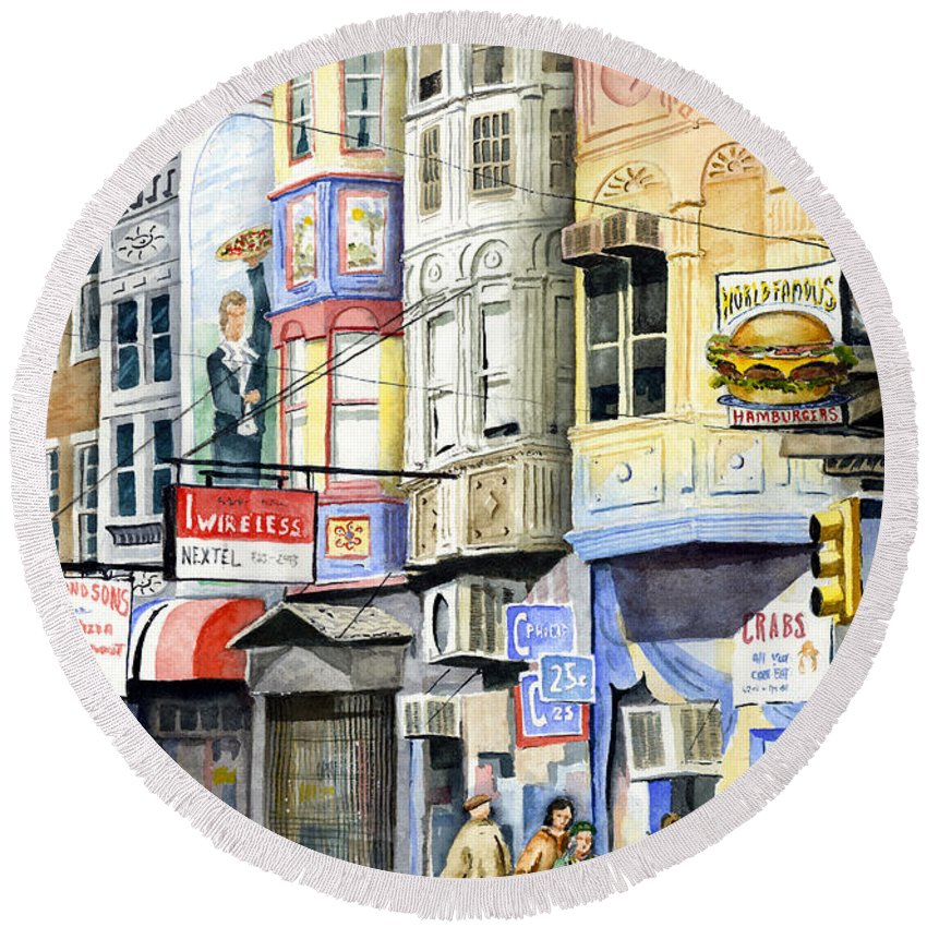 Street Round Beach Towel featuring the painting South Street by Sam Sidders