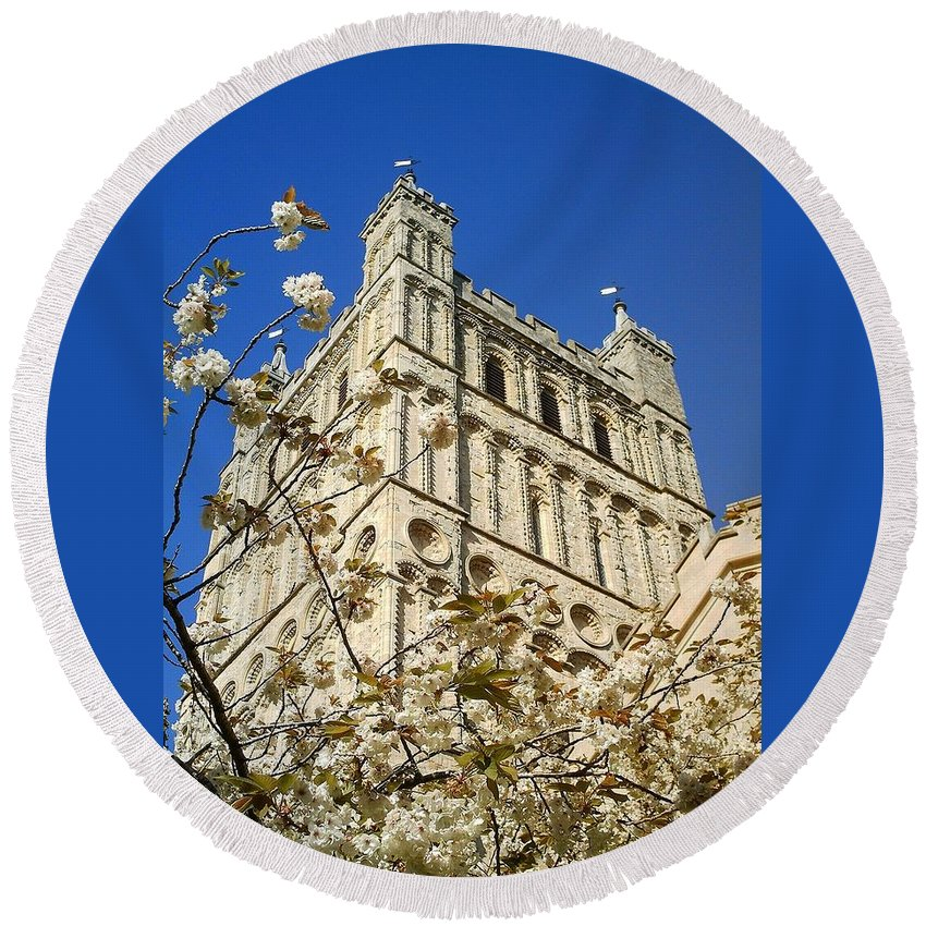 Exeter Round Beach Towel featuring the photograph South Tower Exeter Cathedral by Richard Brookes