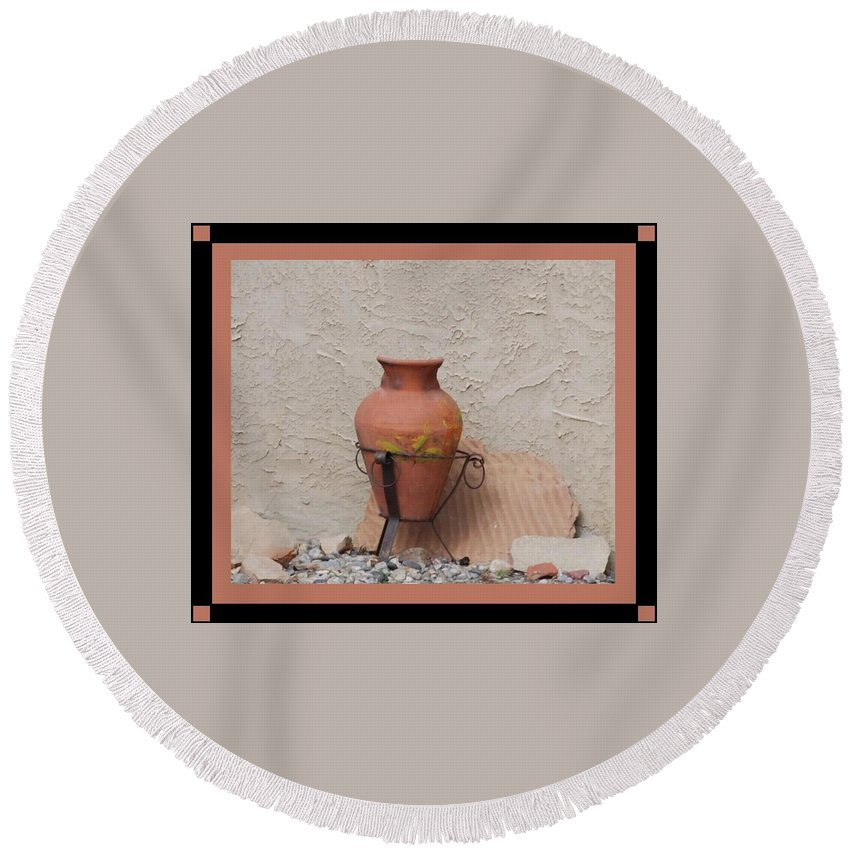Rocks Round Beach Towel featuring the photograph South West Potery by Rob Hans